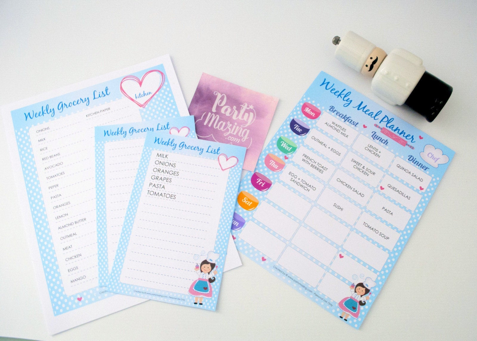 editable printable weekly meal planner and grocery list planner for your kids meal planning