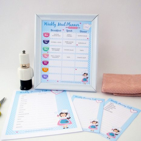 Editable Printable Weekly Meal Planner and Grocery list Planner for your Kids Meal Planning  | E193