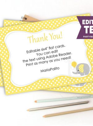 Yellow Elephant Printable Thank You Cards E072