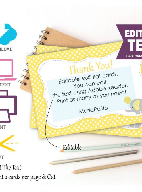Editable Printable Yellow Elephant Thank You Cards  Text  Baby shower Note Cards  Baby   E072