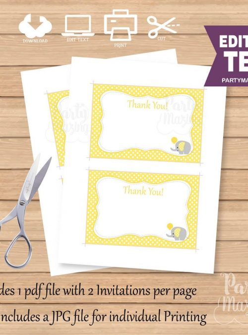 Editable Printable Yellow Elephant Thank You Cards| Text| Baby shower Note Cards| Baby | E072
