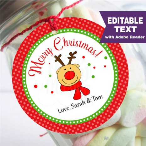 Editable Reindeer Merry Christmas Favor Tag Hand-drawn E297