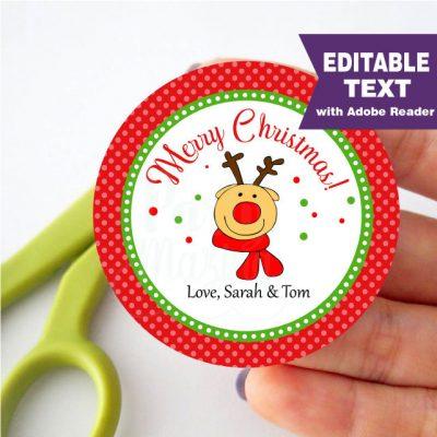 Editable Reindeer Merry Christmas Favor Tag Hand-drawn | PK17 | E297