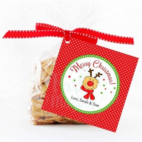 Editable Reindeer Merry Christmas Favor Tag Hand-drawn E297