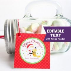 Editable Santa Claus Christmas Gift Tag | E309