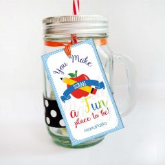 Editable School Gift Thank You Tag Saying You make School a Fun Place to be |  Editable Rectangle Tag | E114