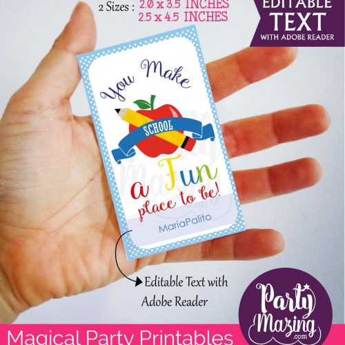 Editable School Gift Thank You Tag Saying You make School a Fun Place to be    Editable Rectangle Tag   E114