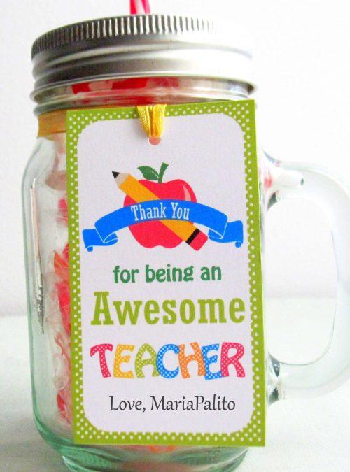 Editable School Teacher Gift Tag  | Editable Rectangle Tag | E116