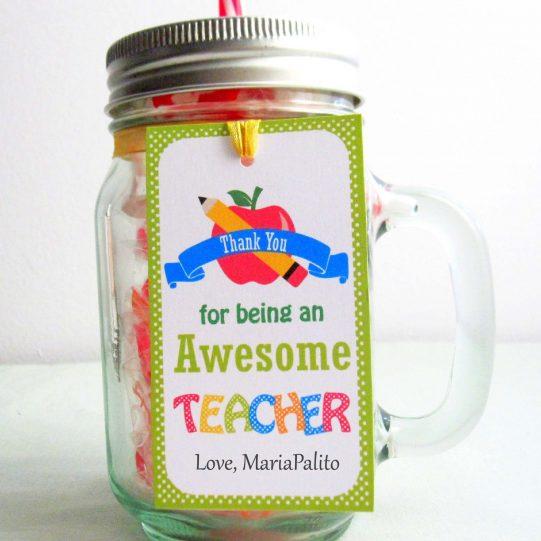 Editable School Teacher Gift Tag    Editable Rectangle Tag   E116