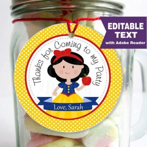 Editable Snow White Tags | Princess Stickers | Thank You Party Favor Tag | Toppers | HBSNW | E152