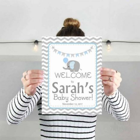 Editable Text Elephant Welcome Party sign | Boy Baby Shower Boy Sign | Blue and Grey Chevron Elephant E079
