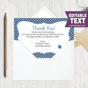 Editable Thank You Cards | Navy Blue Elephant  | Text | Baby shower Note Cards BBEN1 | E121