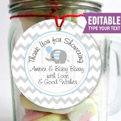 Thank you Elephant Favor Tag | Printable Baby Shower Set | PK03 | E100