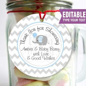 Editable Thank you Elephant Baby Shower Favor Tag | E100