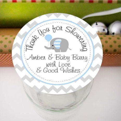Editable Thank you Elephant Baby Shower Favor Tag | E100