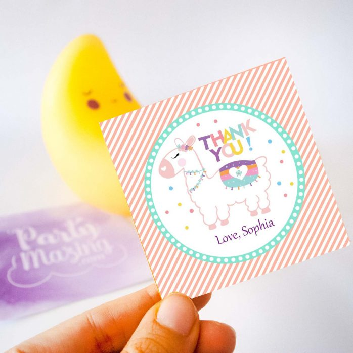 Editable Thank you LLama Tag | Cute Party Favor Sticker | Thank you little Girl Tag | Round or Square Topper | Instant Download  E077