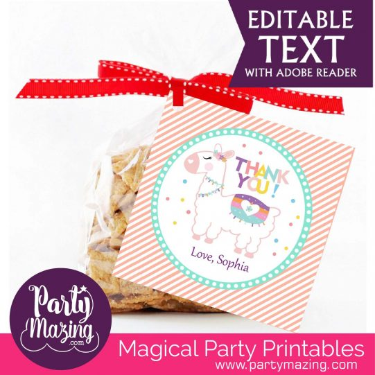 Editable Thank you LLama Tag   Cute Party Favor Sticker   Thank you little Girl Tag   Round or Square Topper   Instant Download  E077