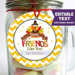 Editable Thankful for Friends like you Printable Tag | E273