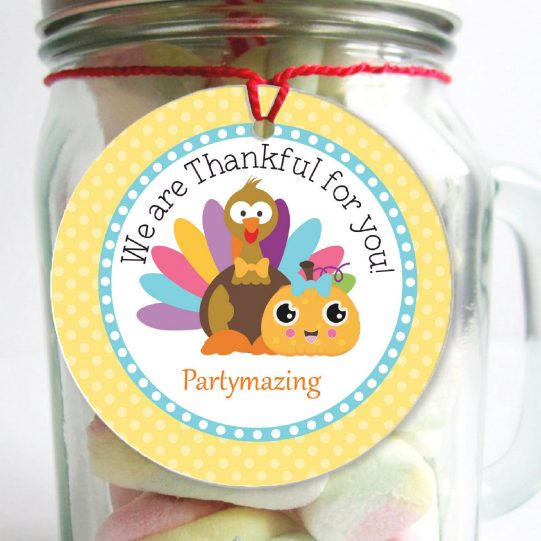 Editable Thankful for you Turkey Thanksgiving Tag with a Turkey and a Pumpkin Sticker   Editable Tag   E224