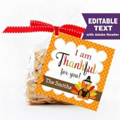 Editable Thanksgiving Favor Tag | I am thankful for you Label | Gift tag | Holiday Sticker | HOTH1 | E219