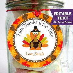 Editable Thanksgiving Favor Tag Label or Thanksgiving Gift tag for the Holidays | E271