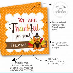 Editable Thanksgiving We are Thankful for you Favor Tag | E217