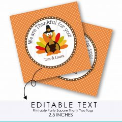 Editable Thanksgiving We are Thankful for you Favor Tag | E218