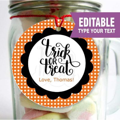Editable Printable Trick or Treat Halloween Printable Party Favor Tags or Candy Labels for your Halloween Treat Bags | E252