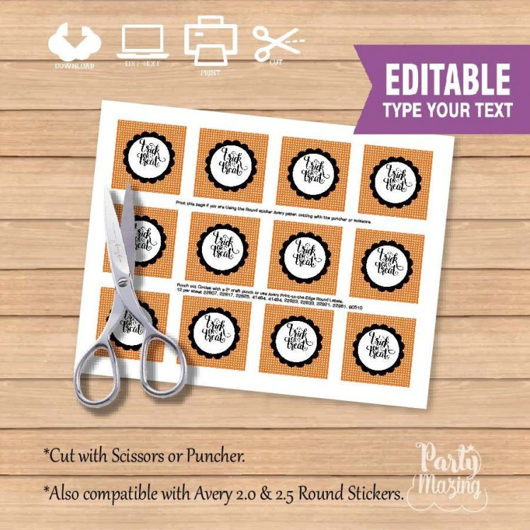 Editable Trick or Treat Halloween Printable Party Favor Tags or Candy Labels for your Halloween Treat Bags   E252