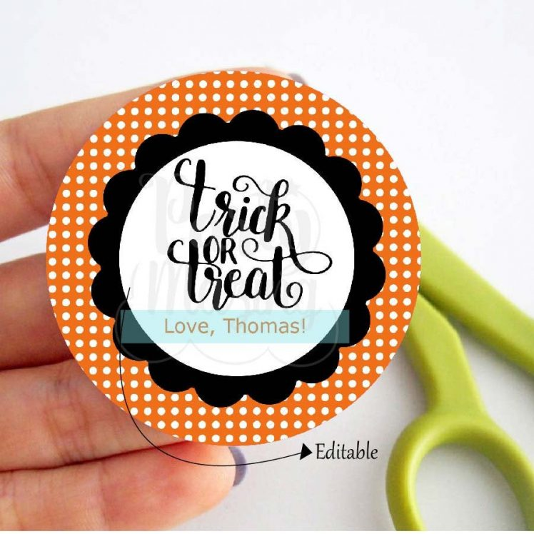 Editable Trick or Treat Halloween Printable Party Favor Tags or Candy Labels for your Halloween Treat Bags | E252
