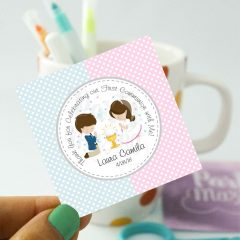 Editable Twins First Communion Tags for Thank You Stickers Labels or Party Favor Tags | E124