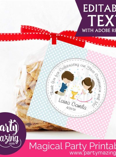 Twins First Communion Printable Favor Tags | E124