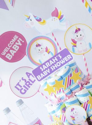 Magical Unicorn Baby Shower Full Party Package Set | E011