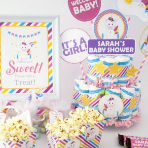 Editable Unicorn Baby Shower Full Party Package Set | E011