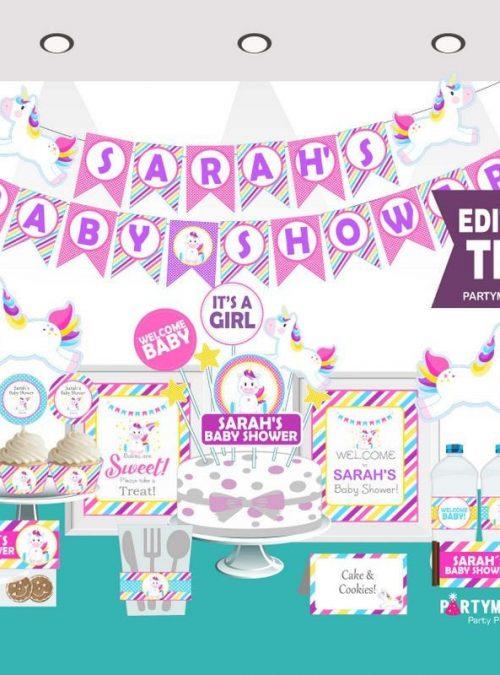 Editable Unicorn Baby Shower Full Party Package Set | E011