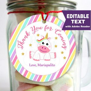 Editable Unicorn Tags | Stickers | Thank You Party Favor Tag | Cupcake Toppers | PK05 | E143