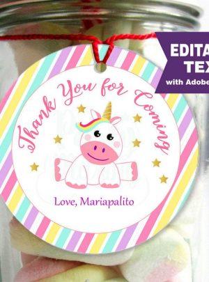 Magical Unicorn Printable Party Favor Tag E143