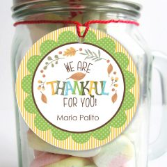 Editable We are Thankful For You Leafy Thank You tag Label or Fall Sticker for Autumn or Thanksgiving Gifts | Editable Tag | E269