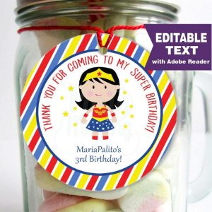 Editable Wonder Woman Tag | Super Girl | Superhero Girl Tags | stickers | Round or Square | E098