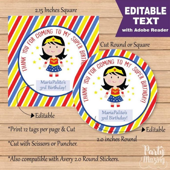 Editable Wonder Woman Tag | Super Girl | Superhero Girl Tags | stickers | Round or Square  | Stickers | HBWW1 | E098