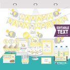 Editable Yellow Elephant Baby Shower Full Package Decoration Set for Neutral Gender Party | E013