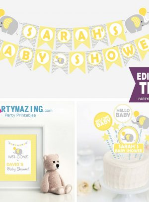 Yellow Elephant Baby Shower Printable Full Party Set E013