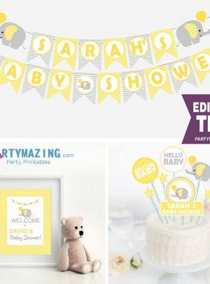Yellow Elephant Baby Shower Printable Full Party Set E013