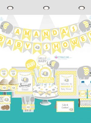 Yellow Elephant Printable Baby Shower Full Party Set E036