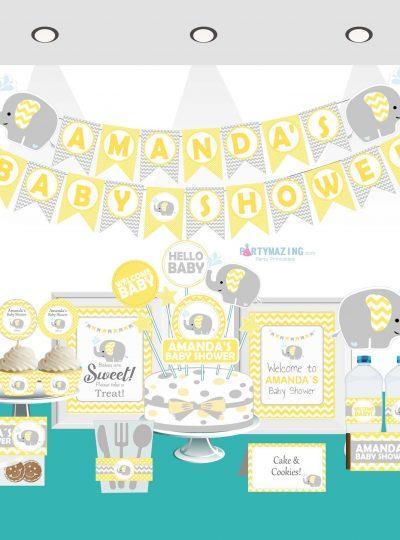 Yellow Elephant Printable Baby Shower Full Party Set E036