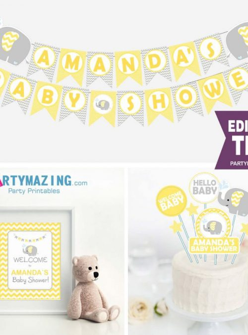Editable Yellow Elephant Baby Shower Full Party Decoration Package Set | BBEY2 | E036