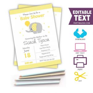 Editable Yellow Elephant Baby Shower Invitation | E058