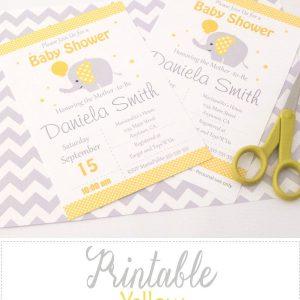 Editable Yellow Elephant Baby Shower Invitation | E058