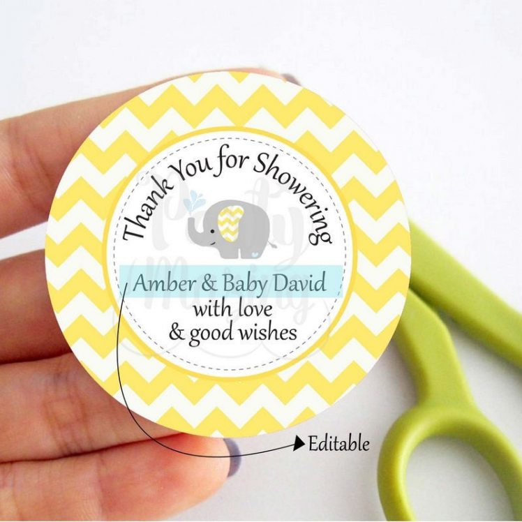 Editable Yellow Elephant Baby Shower Tags | E337