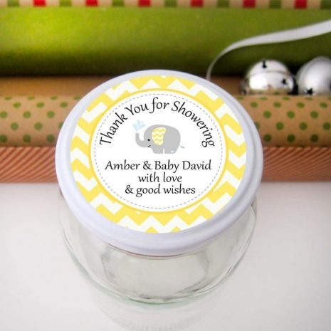Editable Yellow Elephant Baby Shower Tags | E337